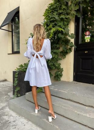 Платье белое короткое мини с открытой спиной длинный рукав