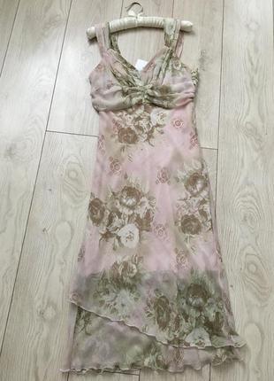 Платье миди шифоновое цветочный принт пудровое по косой воздушное летнее сарафан