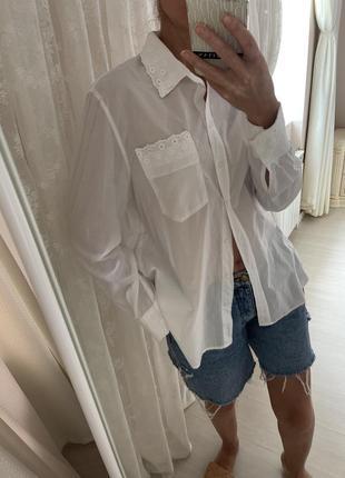Рубашка блуза белая хлопковая на пляж рубашка с воротничком