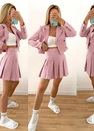 💥 костюм двойка  юбка мини укороченный пиджак