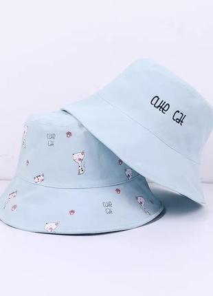 Тренд хлопковая двухсторонняя панама с котиками летняя шляпа панамка хлопок капелюх бавовняний