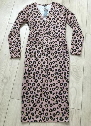Платье миди на запах леопардовое пудровое сексуальное по фигуре трикотажное