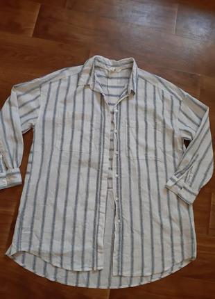 Рубашка в полоску overseas ,интересный крой