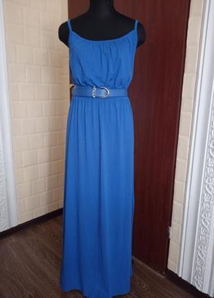 Платье сарафан макси в пол под пояс.