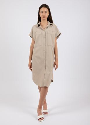 Льняное платье-рубашка merlini