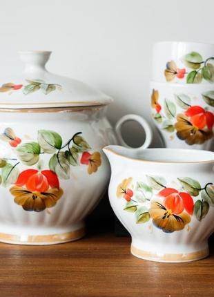 Винтажный фарфоровый сервиз 70-е супница,чашки,сливочник ссср винтаж советский 1 сорт ручная роспись