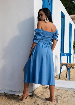 Летнее очаровательное платье из натурального льна