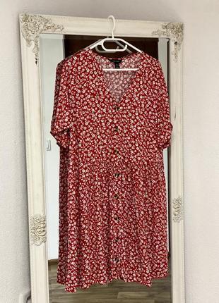 Замечательное цветочное платье на пуговицах new look