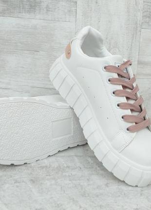 Белые женские кеды на платформе с бежевой шнуровкой демисезонные, р. 36-41