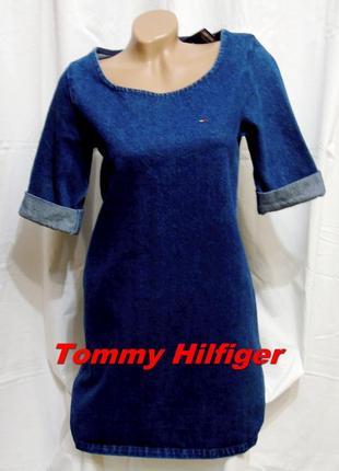 Tommy hilfiger шикарное брендовое платье джинс - s - m