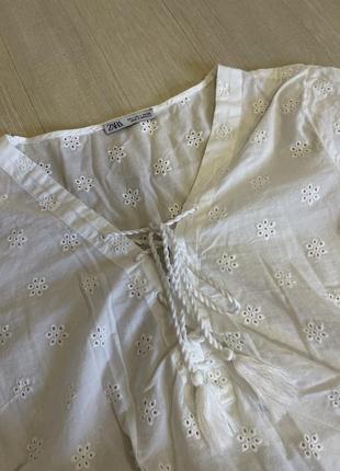 Блуза рубашка белая хлопковая из прошвы вышыванка