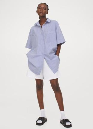 Длинная рубашка оверсайз из поплина h&m