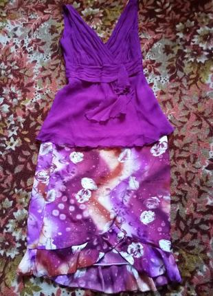 Шелк комплект юбка+блузка два в одном винного цвета
