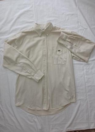 Шикарная винтажная бежевая рубашка lacoste оригинал