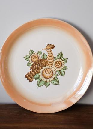 Большая винтажная тарелка-блюдо буды made in ukraine. птица, советский винтаж, ссср фарфор