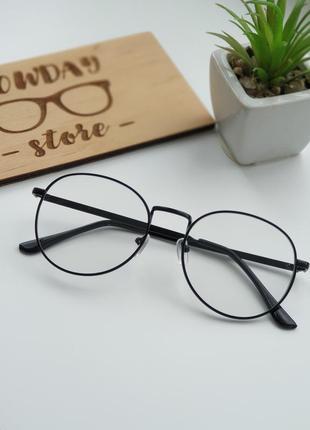 Имиджевые очки черные полукруглые в петаллической оправе / іміджеві окуляри