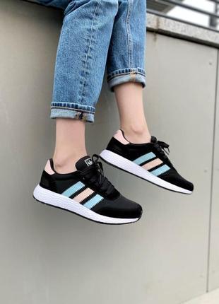 Adidas iniki 😍 новинка 😍 женские шикарные кроссовки адидас летние черные