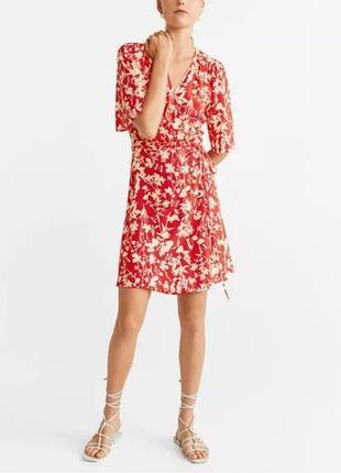 Натуральное платье на запах mango вискоза