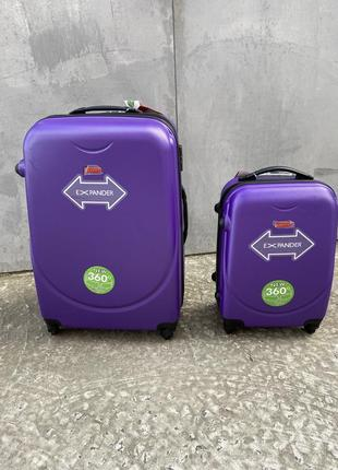 Чемодан пластиковый дорожный на колёсах, валіза дорожня на колесах, чемодан ручная кладь, средний чемодан, чемодан