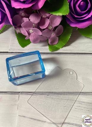 Набор для стемпинга (штамп для стемпинга прямоугольный + пластина скрапер с рисунком)