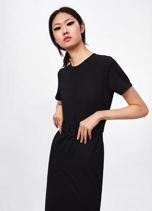 Комбинированное черное платье миди по фигуре,zara