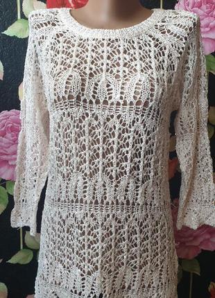Пляжная ажурная накидка туника платье в паетки р 40 42