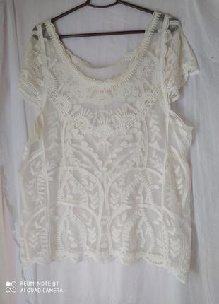 Оригинальная модная прозрачная блузка накидка р. оверсайз пог 60см