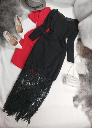Шикарное вечернее нарядное оригинальное стильнаое черное миди платье