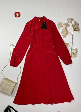Красное миди платье new look, состав вискоза1 фото