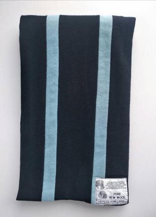 100% шерстяной шарф с голубими полосами