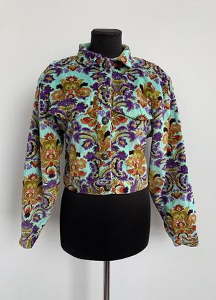 Яркая бархатная укороченная куртка жакет винтаж 42-44