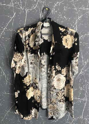 Винтажная рубашка с коротким рукавом, цветочный принт