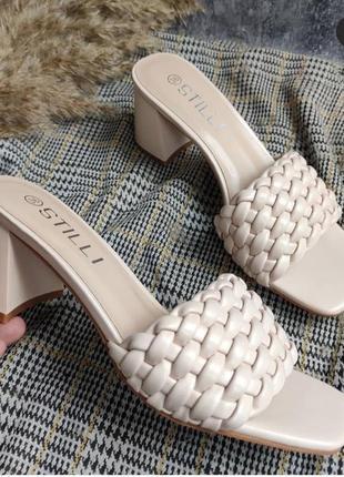 Мюли шлепанцы переплет коса косичка 🌿 квадратный носок на каблуке устойчивом шлепки сандалии