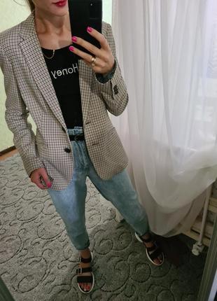 Шикарный удлинённый пиджак, жакет в клетку прямого кроя