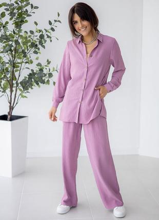 Трендовий вільний костюм: брюки + сорочка