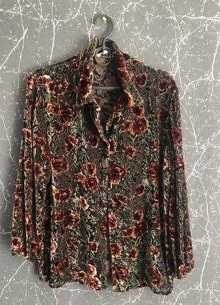 Винтажная блуза с цветочным принтом , велюр