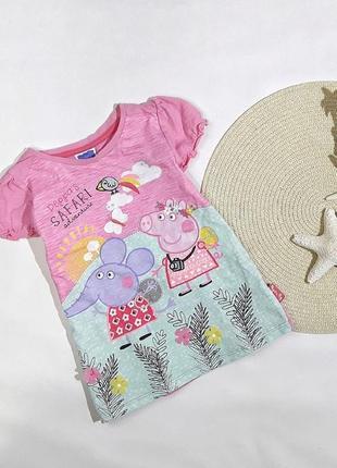 Коттоновая туника-футболка свинка пеппа, tu на 4-5 лет, состояние идеальное