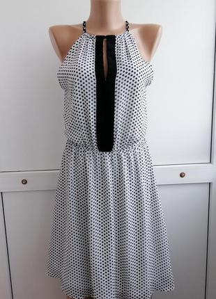 Платье шифон белое чёрное принт короткое