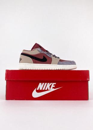 Air jordan 1 low bordo женские низкие бордовые цветные кроссовки найк жіночі кольорові бордові низькі кросівки