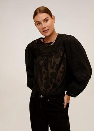 Ажурная черная блузка mango - s, м, l