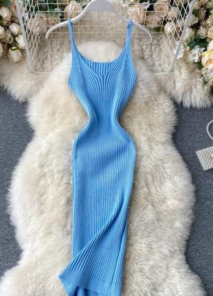 Базовое платье трикотаж лапша, рубчик