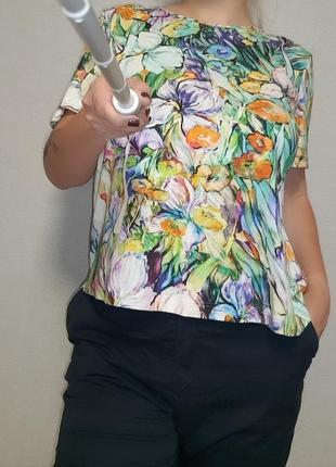 Цветы ван гога, футболка в цветочный принт из вискозы 16-18 размер