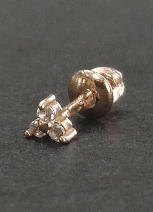 Золотая сережка пусет из золота 585 пробы арт 970217108