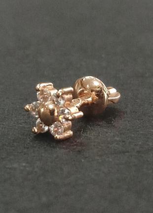 Золотая сережка гвоздик арт 970208350