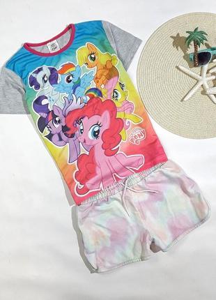 Летний набор my little pony футболка + шорты на 9-10 лет, состояние идеальное