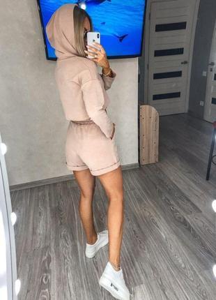 Костюм женский с шортами свитшот топ летний легкий свободный черный серый5 фото