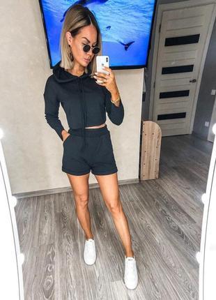 Костюм женский с шортами свитшот топ летний легкий свободный черный серый3 фото