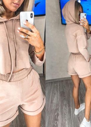 Костюм женский с шортами свитшот топ летний легкий свободный черный серый4 фото