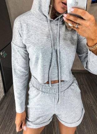Костюм женский с шортами свитшот топ летний легкий свободный черный серый9 фото