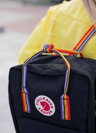 Рюкзак fjallraven kanken rainbow черный с разноцветными ручками купить фьялравен канкен